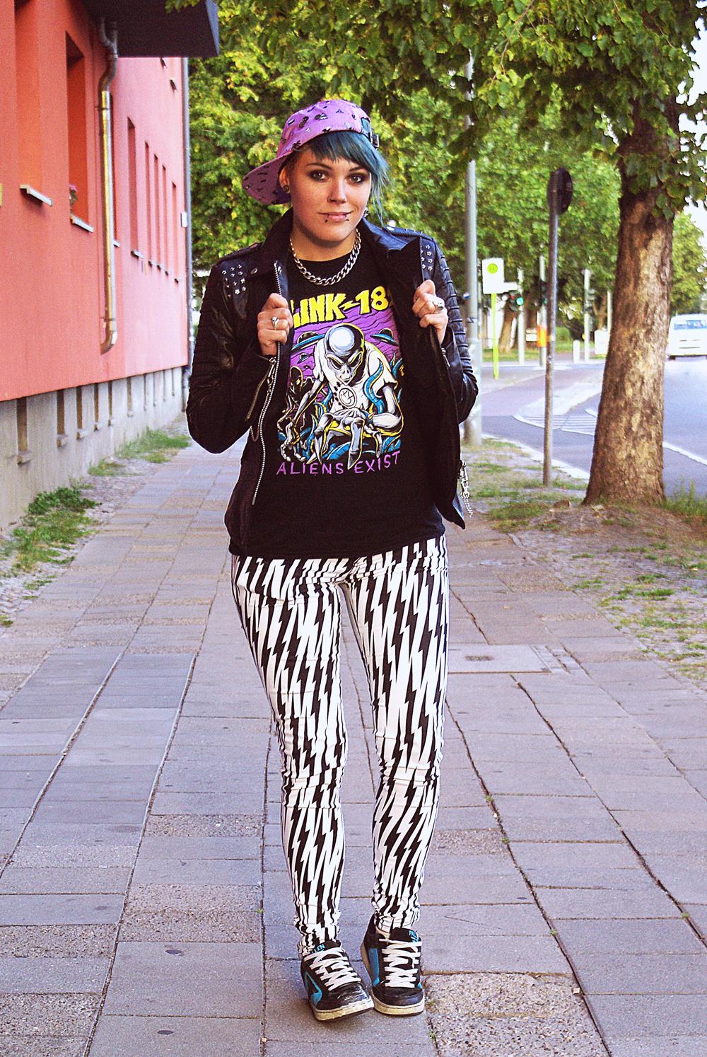 tripp nyc lightning bolt jeans fallen shoes cyan blink aliens exist shirt glamour kills holiday cap lavender purple leather jacket real biker moto chain bandshirt rock