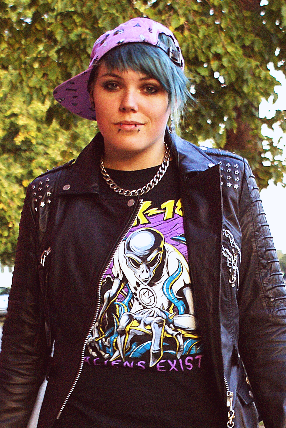 tripp nyc lightning bolt jeans fallen shoes cyan blink aliens exist shirt glamour kills holiday cap lavender purple leather jacket real biker moto chain bandshirt rock