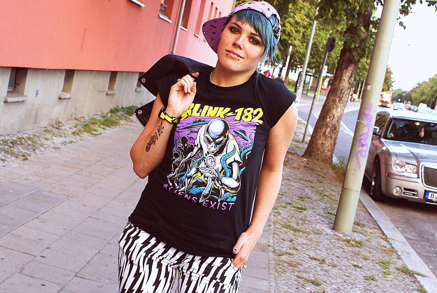 tripp nyc lightning bolt jeans fallen shoes cyan blink aliens exist shirt glamour kills holiday cap lavender purple leather jacket real biker moto chain bandshirt rock swatch jeremy scott