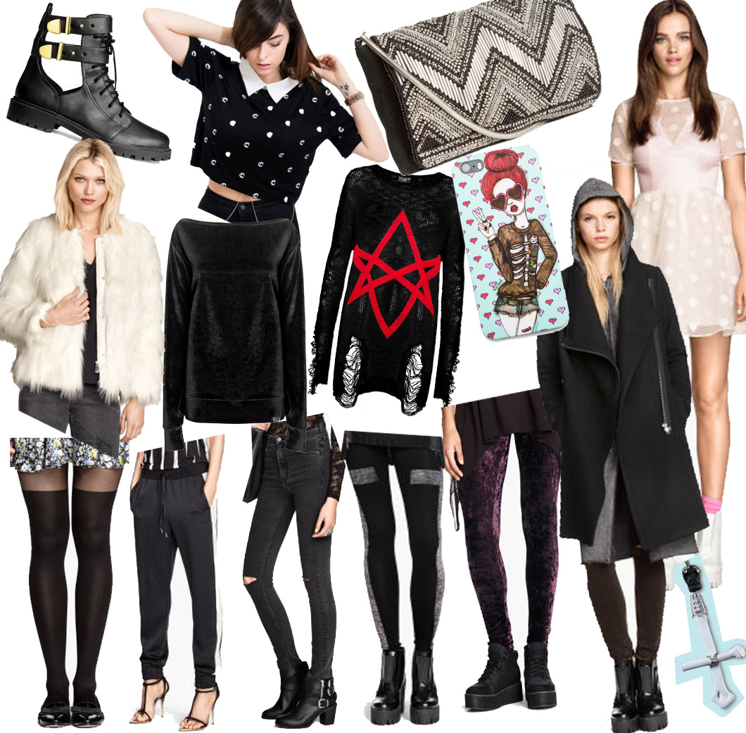 wishlist of the month wotm case dollskill velvet cross jeans jogger h&m mantel kleid tüll dots punkte valfre clutch perlen drop dead crop top vampire killstar star fake fur boots cut out