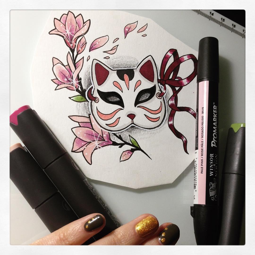 Sharlotte sharlottesan Tattoos Lille japanisch Katze Neko maske